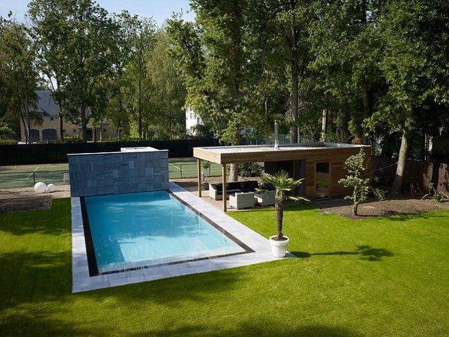 Overloopzwembad tuin relaxzwembaden - Zwembad betegeld grijs ...